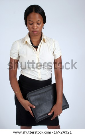 Businesswoman with her notebook - stock photo