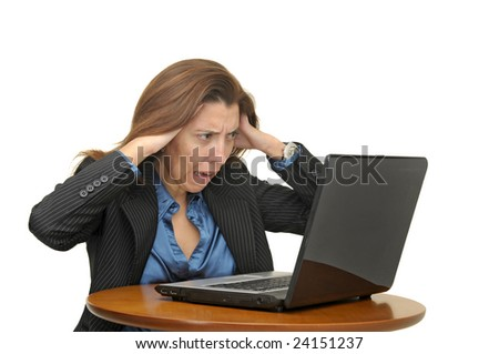 Businesswoman with laptop isolated against a white background
