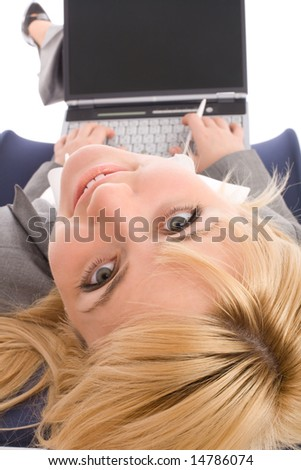Businesswoman with laptop rest in chair over white background. View from above