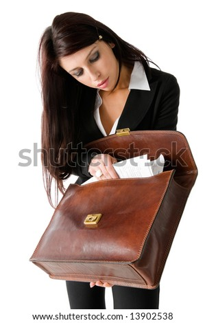 Businesswoman with leather suite case, isolated on white background - stock photo