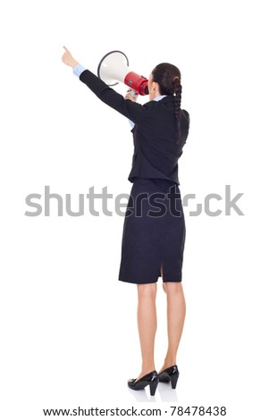 businesswoman with megaphone giving order, pointing  with finger, isolated on white - stock photo