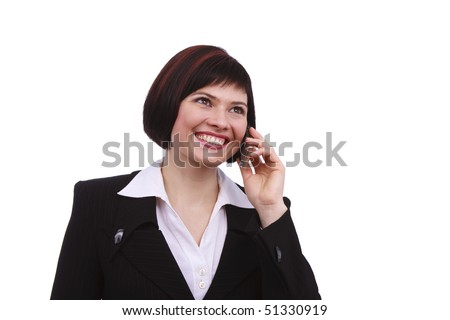Businesswoman with mobile phone on white background. Smiling girl speaks on the mobile phone. Young female on cellular. - stock photo