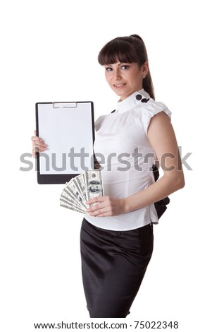 Businesswoman with money and clipboard on a white background.