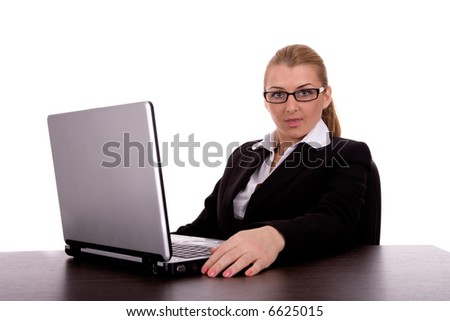 Businesswoman with notebook. - stock photo