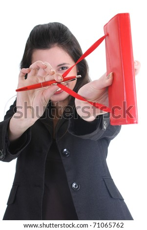 Businesswoman with notepad aiming at you over white - stock photo