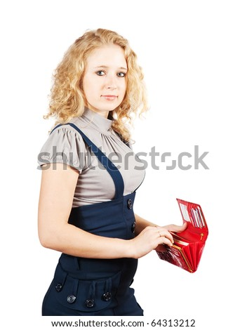 businesswoman with opening wallet. Isolated over white