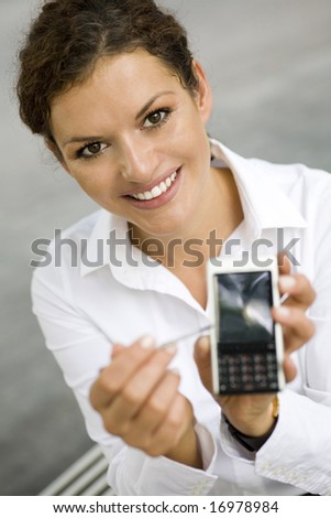 Businesswoman with palmtop