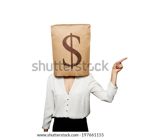 businesswoman with paper bag on her head pointing at something. isolated on white background - stock photo