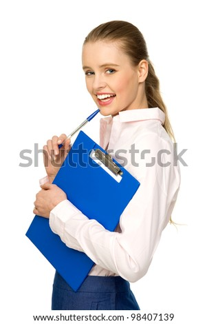Businesswoman with pen and clipboard - stock photo