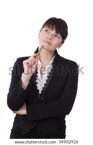 Businesswoman with pen. Businesswoman thinks about something. Isolated over white background. - stock photo