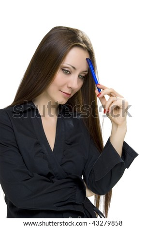 businesswoman with pen on white background - stock photo