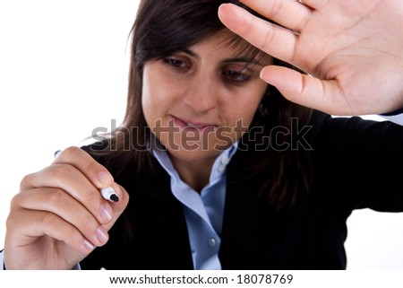 businesswoman with pen signing - stock photo