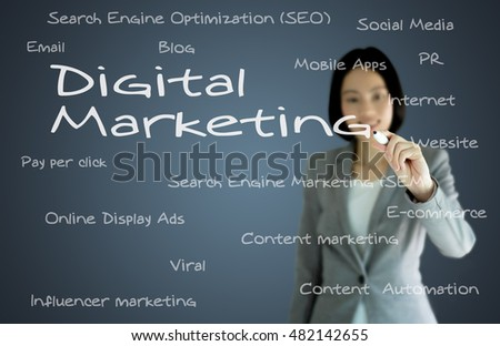 businesswoman with pen writing on the screen.Digtal Marketing
