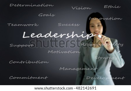 businesswoman with pen writing on the screen.Leadership