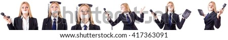 Businesswoman with phone in censorship concept