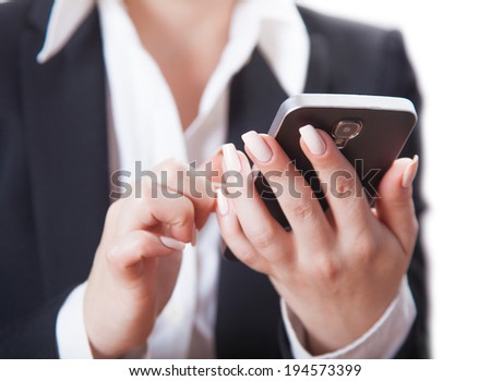 businesswoman with phone, isolated white background