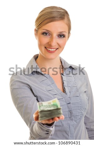 Businesswoman with polish zloty banknotes isolated on white - stock photo