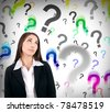 businesswoman with question marks behind her, hard decision - stock photo