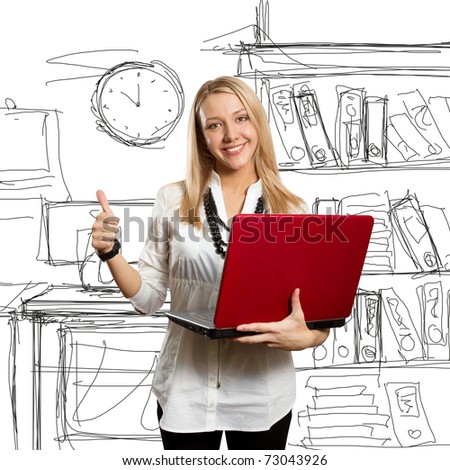 businesswoman with red laptop shows well done - stock photo