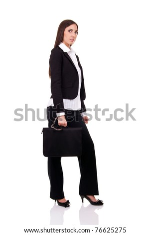 businesswoman with safe briefcase, isolated on white - stock photo