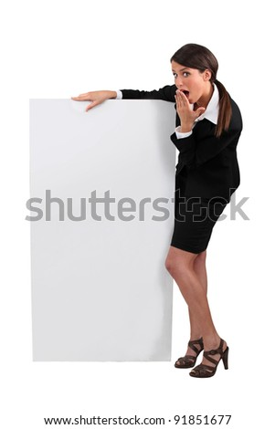 businesswoman with surprised expression - stock photo
