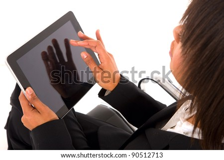 businesswoman with tablet - stock photo