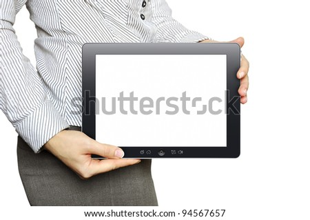 Businesswoman with tablet computer in her hand - stock photo