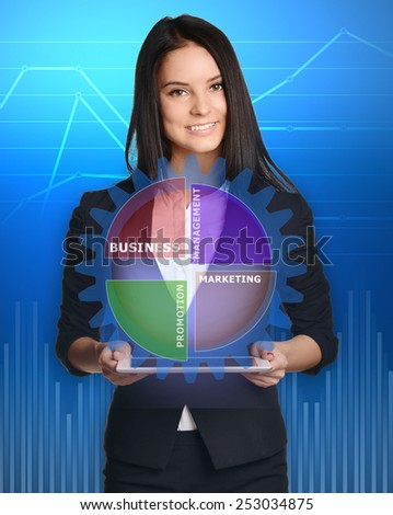 businesswoman with tablet pc against gear management technology. - stock photo