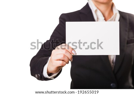 businesswoman with the blank, isolated white background