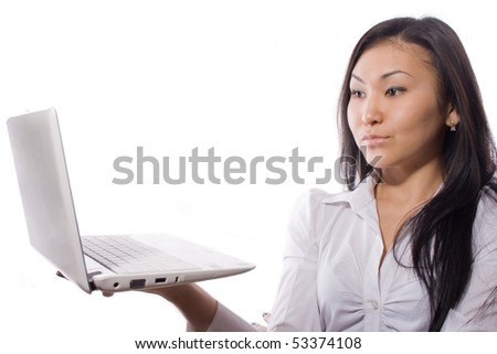 businesswoman with the laptop - stock photo