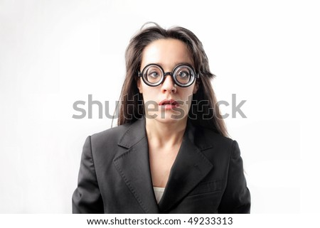 Businesswoman with thick glasses
