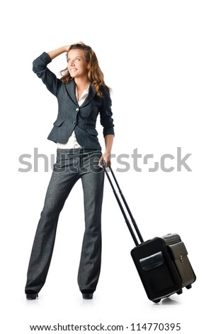 Businesswoman with travel case on white