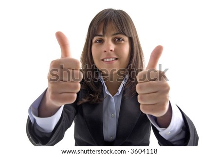 businesswoman with two thumbs up isolated in white background - stock photo