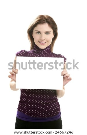 Businesswoman with white copy space in her hands - stock photo