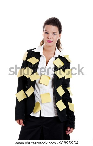 Businesswoman with yellow pos-its, isolated on white - stock photo