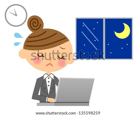 Businesswoman work overtime - stock photo