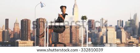 Businesswoman Working Cityscape Urban scene Concept - stock photo
