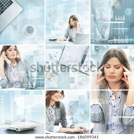 Businesswoman working in office over the modern abstract background. Collage made of different pictures.
