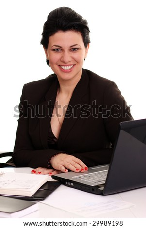 businesswoman working on a laptop - stock photo