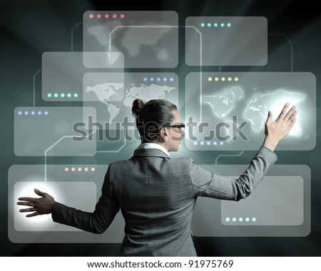 Businesswoman working on a virtual digital keyboard - stock photo