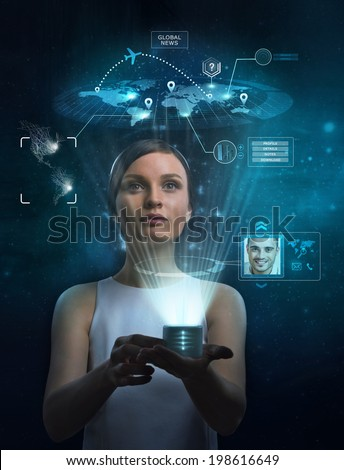 Businesswoman works with huge touch screen - stock photo