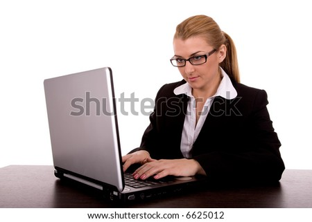Businesswoman write by notebook. - stock photo