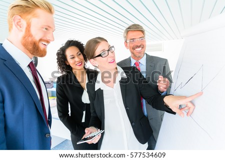 Businesswoman writes on a flipboard in front of three co-workers