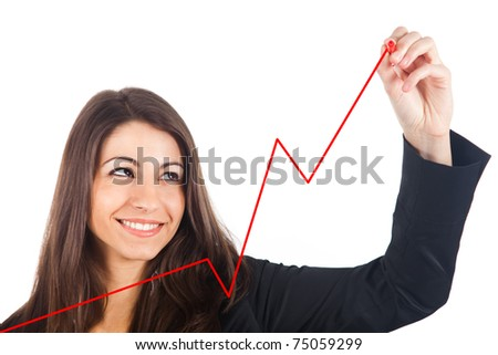 Businesswoman writing a graph with a red pen, isolated on white - stock photo