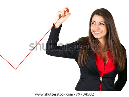 Businesswoman writing a graph with a red pen, isolated on white