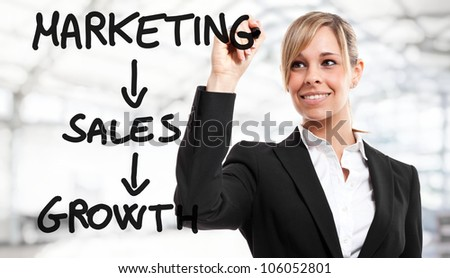 Businesswoman writing business concepts