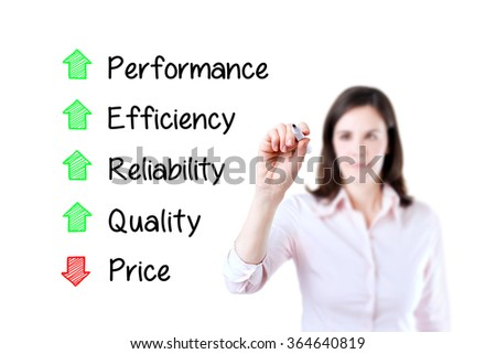 Businesswoman writing decreased price compare with increased quality, reliability, efficiency, performance. White background. - stock photo