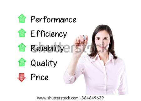 Businesswoman writing decreased price compare with increased quality, reliability, efficiency, performance. Isolated on white.   - stock photo