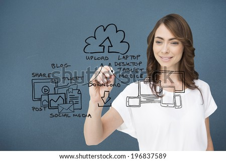 Businesswoman writing doodle against blue background with vignette