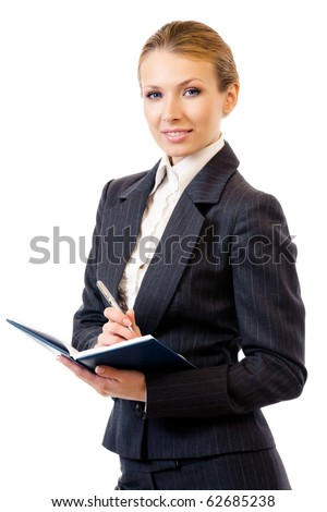 Businesswoman writing, isolated on white